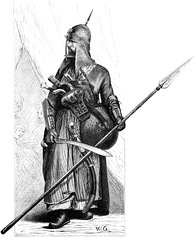 An Egyptian mamluk warrior in full armor and armed with lance, shield, Mameluke sword and pistols