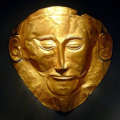 Gold 'Mask of Agamemnon' produced during the Mycenaean civilization, from Mycenae, Greece, 1550 BC
