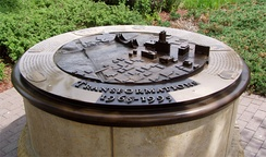 Several sculptures on the Federal Reserve grounds depict growth along the river front area of Minneapolis
