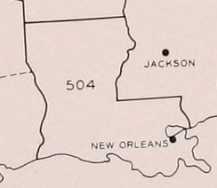 Area code 504 as of 1947-1957.