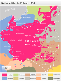 Dominant ethnicities in and around Poland, 1931, according to Polish historian Henryk Zieliński.