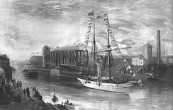 The yacht Norseman headed a convoy of vessels at the canal's opening in January 1894. Seen passing the Barton Swing Aqueduct, it carried the company's directors.[44]