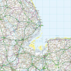 Grid square TF. The map shows The Wash and the North Sea, as well as places within the counties of Lincolnshire, Cambridgeshire and Norfolk.