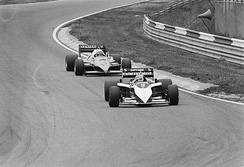 Nelson Piquet and Alain Prost prior to their collision.