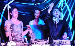 (L to R:) Porter Robinson, Zedd, and Skrillex performing at SXSW on March 16, 2012