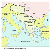Map of the praetorian prefecture of Illyricum, 318–79, with its capital in Sirmium.