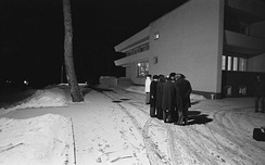 The American delegation conversing during one of the breaks, standing outside the Sanatorium to avoid the possibility of being bugged