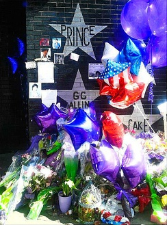 Following his death, fans left flowers, purple balloons, and other mementos beneath Prince's star painted on the front of the First Avenue nightclub.