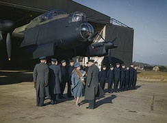 HM Queen Elizabeth inspects flight and ground crews at RAF Warboys, February 1944, in front of an Avro Lancaster of No. 156 Squadron