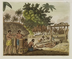 Captain Cook witnessed the ceremony of human sacrifice in Tahiti, c. 1773.