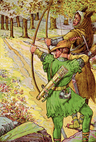 """Robin shoots with Sir Guy"" by Louis Rhead"