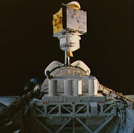 RCA Satcom K1 geostationary communications satellite deployed from Space Shuttle Columbia (1986)