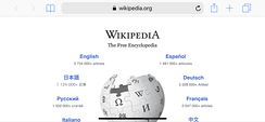Wikipedia on the iPhone Safari web browser in landscape mode