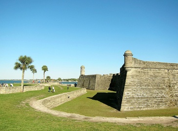 North bastions and wall of the Castillo, looking eastward toward Anastasia Island