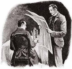 "Watson reading bad news to Holmes in ""The Five Orange Pips."" One of Sidney Paget's iconic illustrations from The Strand magazine."