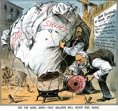 "An 1885 political cartoon accuses U.S. senator John Sherman (right) and Foraker of ""waving the bloody shirt"" of the Civil War for political gain"