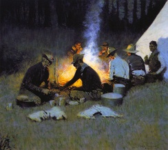 The Hunters' Supper (detail) by Frederic Remington, circa 1909