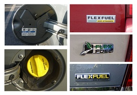 Typical labeling used in the US to identify E85 flex-fuel vehicles. Top left: a small sticker in the back of the fuel filler door. Bottom left: the bright yellow gas cap now used in newer models.  E85 Flexfuel badging used in newer models from Chrysler (top right), Ford (middle right) and GM (bottom right).