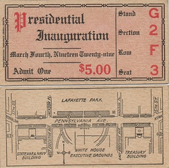 Inaugural Parade ticket for President Herbert Hoover, March 4, 1929