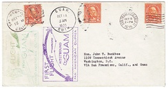Cover carried both directions on the first commercial flights between Guam and the United States, October 5–24, 1935.