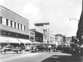 Downtown on East Main Street in 1954