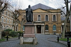Wesley's Chapel in London was established by John Wesley, whose statue stands in the courtyard.