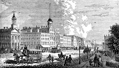 Woodward Avenue shopping district, 1865.