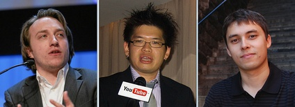 From left to right: Chad Hurley, Steve Chen and Jawed Karim, the founders of YouTube