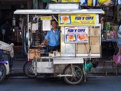 A mobile street vendor selling fish and chips in Chiang Mai, Thailand
