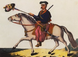 Victorious Zaporozhian Cossack with the head of a Tatar, 1786 print