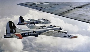 "B-17s of the 381st Bomb Group, Ridgewell Airfield England, en route to targets over Nazi-occupied territory. The aircraft in the foreground is Boeing B-17G-70-BO Flying Fortress, AAF Ser. No. 42-31443, ""Friday the 13th"" of the 532d Bomb Squadron. This aircraft was lost on 22 February 1944 on a mission to Oschersleben, Germany."