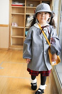 A girl at a Japanese kindergarten entrance ceremony