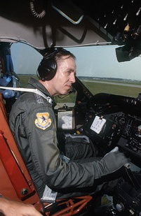 Air Force Chief of Staff General Larry D. Welch flies an Lockheed C-141 Starlifter.
