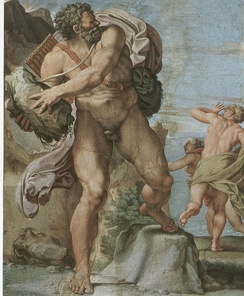 The Cyclops Polyphemus by Annibale Carracci (between 1595 and 1605), showing a scene shared between the Odyssey and Euripides's Cyclops (1922)