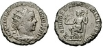 Antoninianus struck in Viminacium mint under Pacatianus to celebrate the 1001 birthday of Rome.