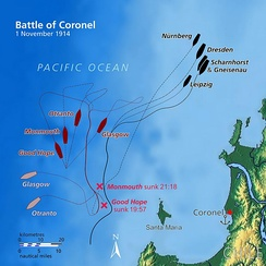 Ship movements during the Battle of Coronel. British ships are shown in red; German ships are shown in blue.