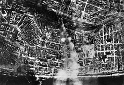 Smoke over the city center after aerial bombing by the German Luftwaffe on the central station