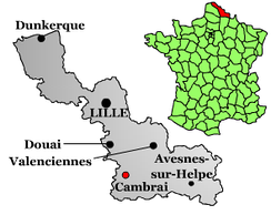 Geographic situation of Cambrai in the Nord department