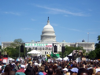 Obama addressed the Save Darfur rally at the National Mall in Washington, D.C., on April 30, 2006.[14]