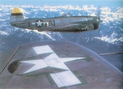 Republic P-47D-30-RE Thunderbolt Serial 44-20456 of the 397th Fighter Squadron on an escort mission over the German Alps.