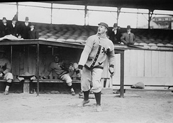 Mathewson warming up as a New York Giant in 1910