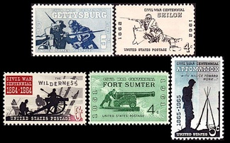 Beginning in 1961 the U.S. Post Office released Commemorative stamps for five famous battles, each issued on the 100th anniversary of the respective battle.