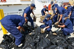 The U.S. Coast Guard offloads seized cocaine in Miami Beach, Florida, May 2014