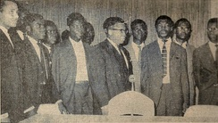 Kasa-Vubu with the members of the College of Commissionaires-General, installed by Mobutu in September 1960