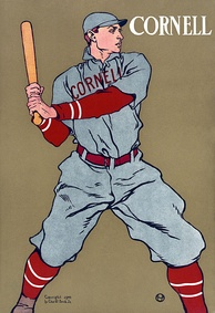 A 1908 print depicting a Cornell baseball player