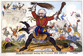 Old Blucher Beating the Corsican Big Drum, George Cruikshank, 8 April 1814