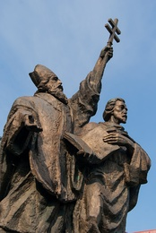 A statue of Saint Cyril and Saint Methodius in Žilina. In 863, they introduced Christianity to what is now Slovakia.