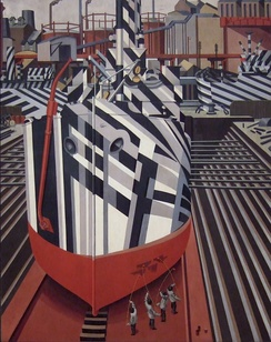 Painting of Dazzle-ships in Drydock at Liverpool, by Edward Wadsworth, 1919