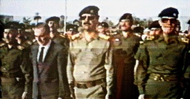 Iraqi and Syrian Ba'athist leaders (belonging to the Ba'ath Party headquartered in Baghdad) during the funeral of Michel Aflaq in 1989.