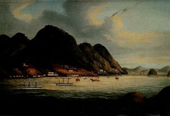 Possibly the earliest painting of Hong Kong Island, showing the waterfront settlement which became Victoria City